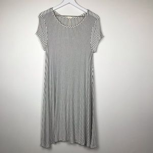 Pinc White and Black Striped Casual Dress